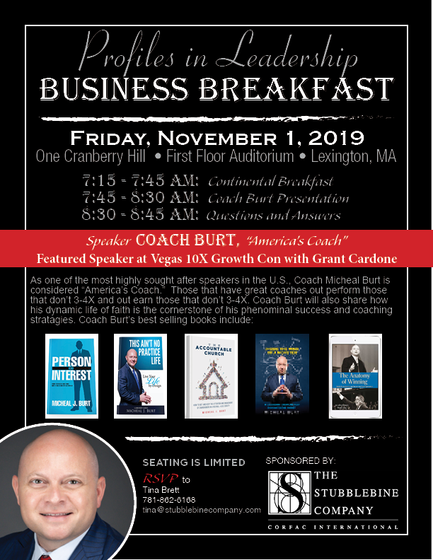 Profiles in Leadership Business Breakfast with Coach Burt